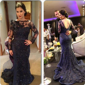 Navy Long Sleeves Lace Sexy V Back Mermaid Long Prom Dresses, PM0055 - Prom Muse