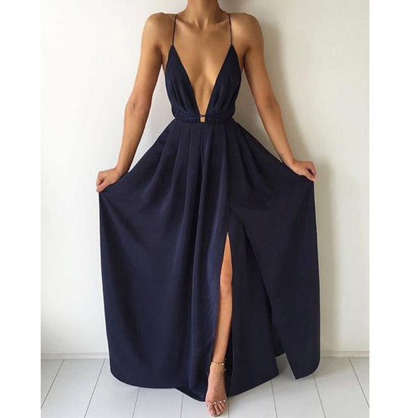 Deep V Neck Side Split Halter Navy Simple Beach Prom Dresses, PM0056 - Prom Muse