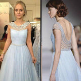 Blue Beaded Cap Sleeve Formal Long Prom Dresses, PM0058 - Prom Muse