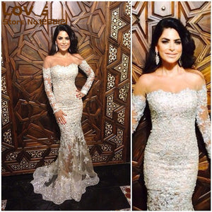 Long Sleeves Ivory Lace Mermaid Sexy Long Prom Dresses, PM0059 - Prom Muse