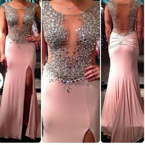 Heavy Beaded Sexy Seen Through Split Long Prom Dress, PM0005