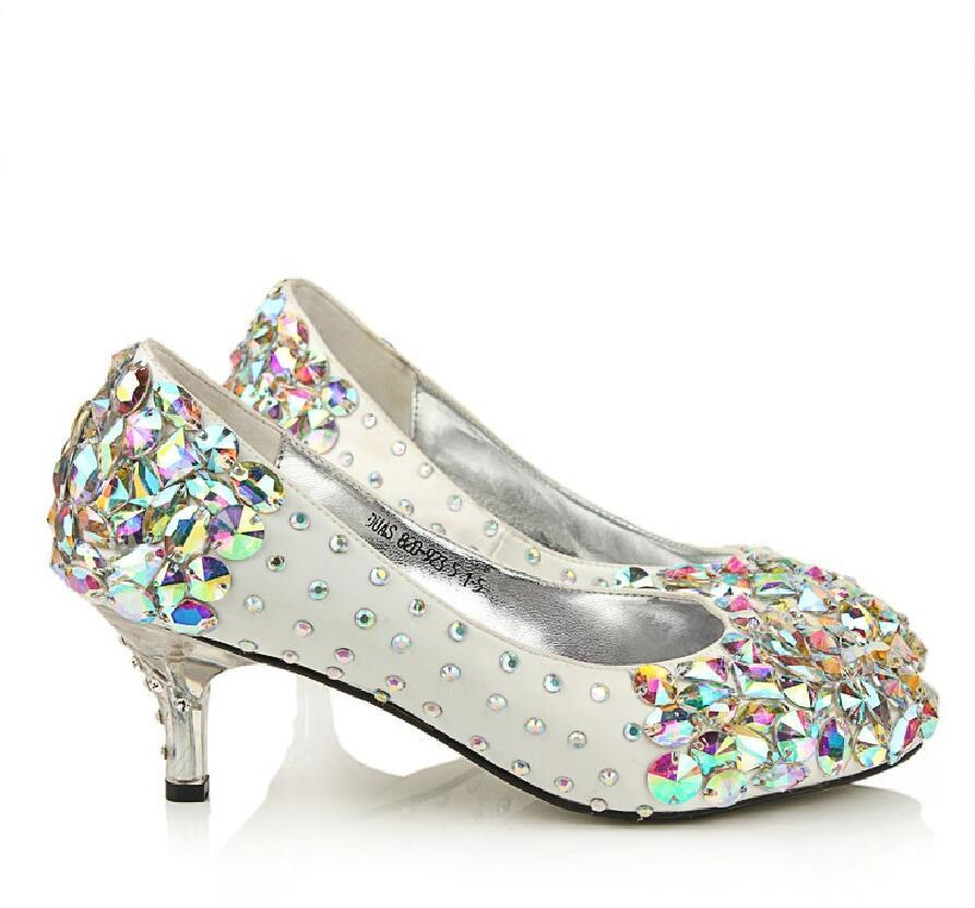 ca36ee3d29ac Popular Sparkly Crystal High Heels Pointed Toe White Wedding Bridal Shoes