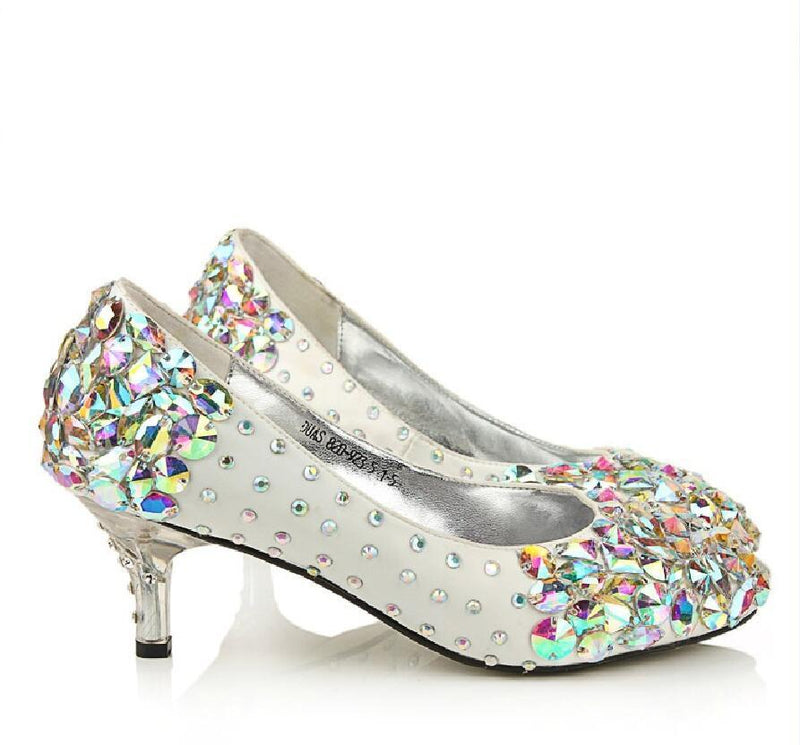 Popular Sparkly Crystal High Heels Pointed Toe White Wedding Bridal Shoes, S011 - Prom Muse