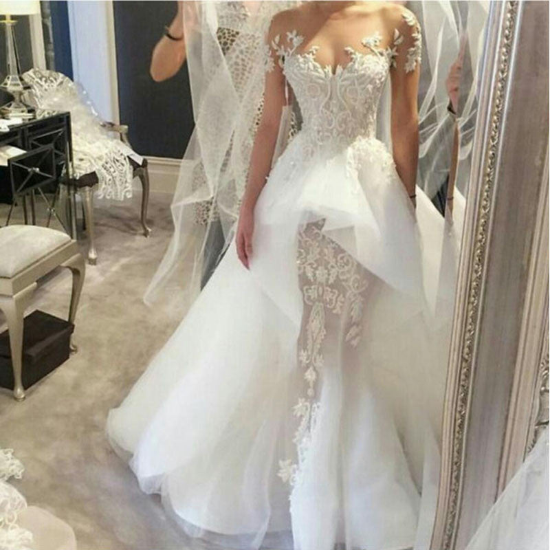 Sexy Applique Unique Long White Wedding Dresses, PM0602