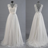 Ivory Lace Top V Back Long Cheap Beach Wedding Dresses, PM0603 - Prom Muse