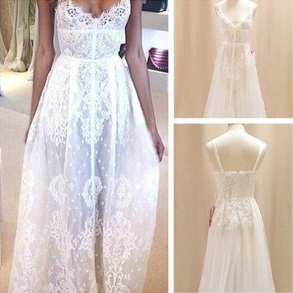 Simple Lace White Long Cheap Beach Wedding Dresses Pm0604