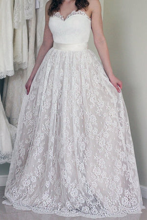 Online Sweetheart Long Cheap Lace Wedding Dresses, PM0605