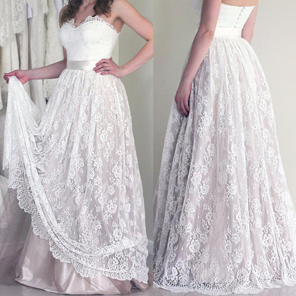 Online Sweetheart Long Cheap Lace Wedding Dresses, PM0605 - Prom Muse