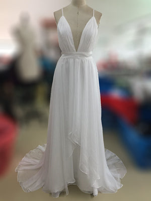 Affordable Simple Open Back White V Neck Beach Wedding Dresses, PM0606 - Prom Muse