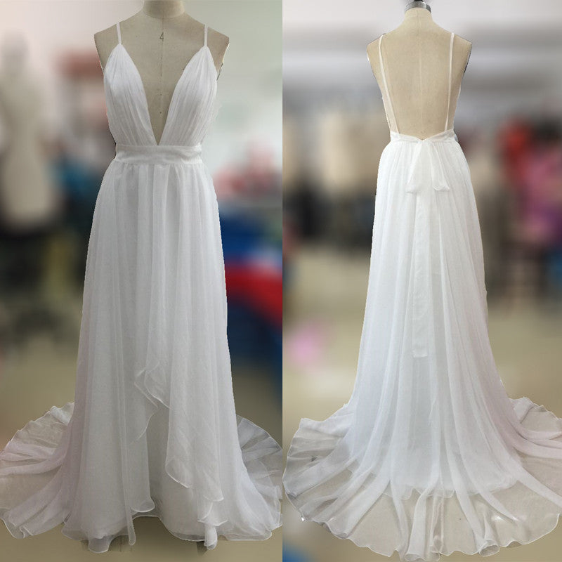 Affordable Simple Open Back White V Neck Beach Wedding Dresses Pm0606