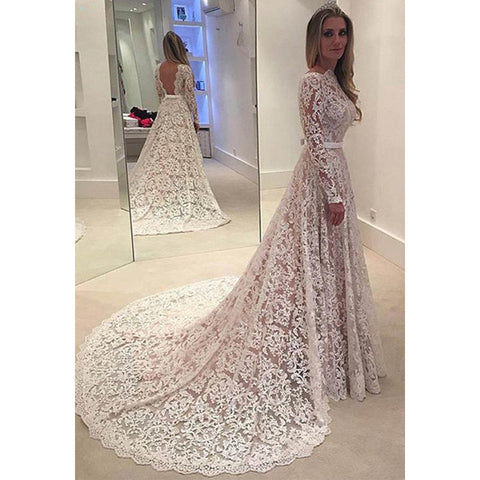 Long Sleeves Open Back Long Lace Wedding Dresses, PM0607