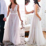Popular Lace Top Tulle Online Long Beach Wedding Dresses, PM0609 - Prom Muse