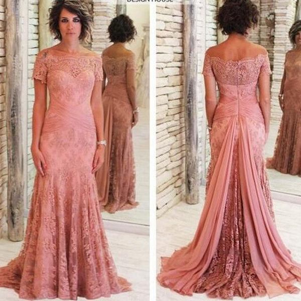 Short Sleeves Off The Shoulder Lace Elegant Long Prom Dresses, PM0060