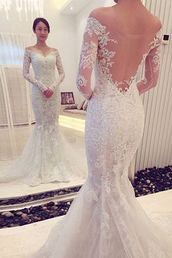 Off the Shoulder Long Sleeves Lace Mermaid Wedding Dresses, PM0611 - Prom Muse