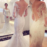 Off the Shoulder Long Sleeves Lace Mermaid Wedding Dresses, PM0611