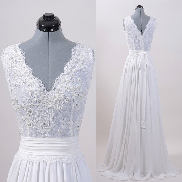 Ivory Lace Top V Neck Long Cheap Brides Wedding Dresses, PM0612 - Prom Muse