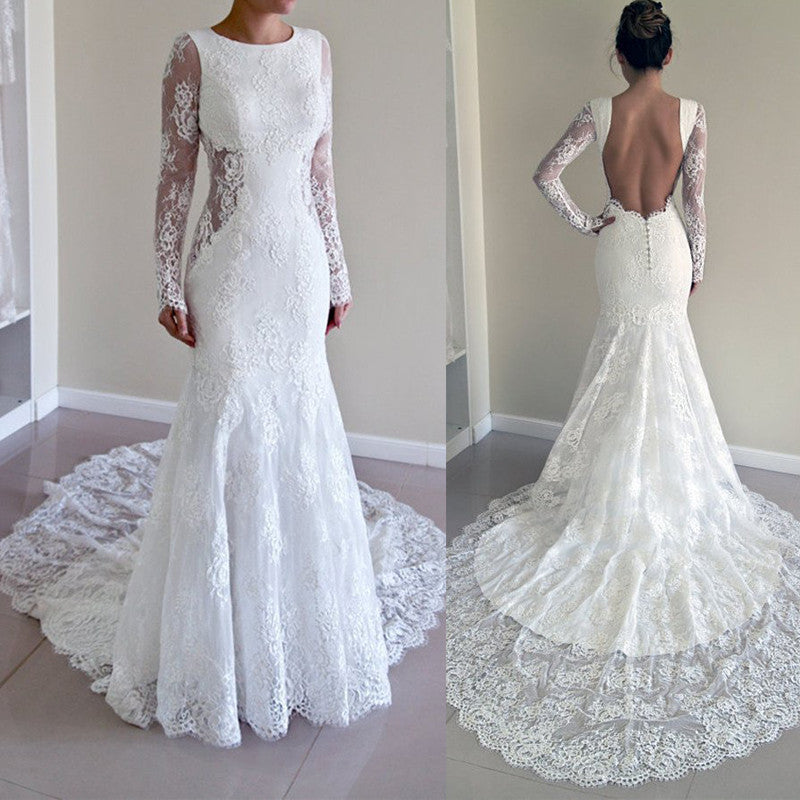 Mermaid Long Sleeves Open Back Long Lace Wedding Dresses, PM0613 - Prom Muse