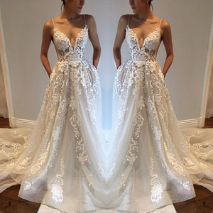 Charming Applique Ivory Inexpensive Bride Wedding Dresses, PM0614 - Prom Muse