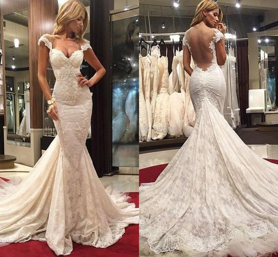 Cap Sleeves Lace Mermaid Sexy Long Bridal Wedding Dresses, PM0615 - Prom Muse