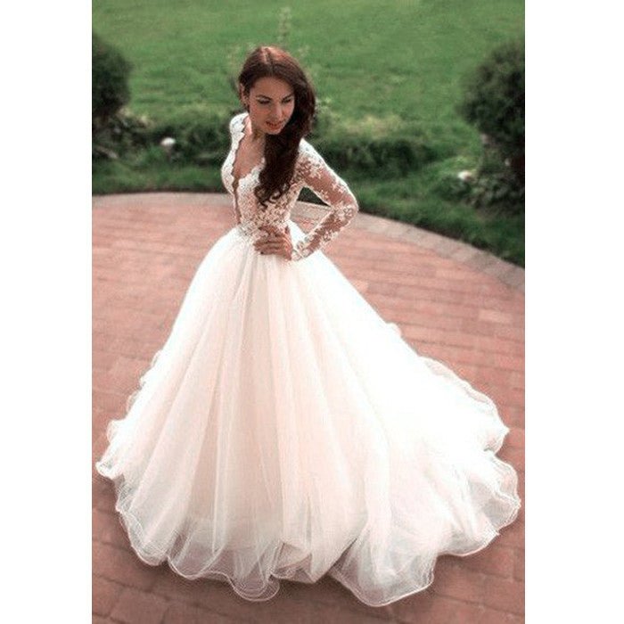 Charming Long Sleeves Lace Long Bridal Wedding Dresses, PM0616 - Prom Muse