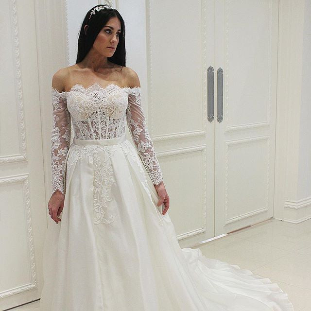 Off the Shoulder Long Sleeves Lace Cheap Long Wedding Dresses, PM0617 - Prom Muse