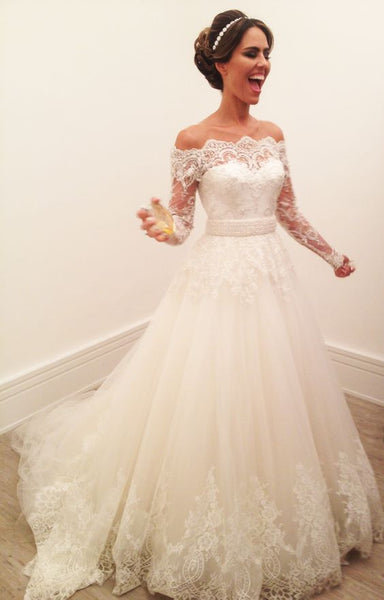Off the Shoulder Long Sleeves Lace Elegant Cheap Long Wedding Dresses, PM0618 - Prom Muse