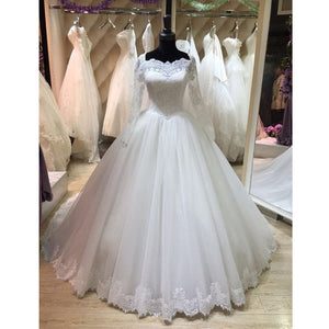 Elegant Long Sleeves Lace Cheap Long Wedding Dresses Brides Ball Gown, PM0619 - Prom Muse