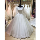 Elegant Long Sleeves Lace Cheap Long Wedding Dresses Brides Ball Gown, PM0619