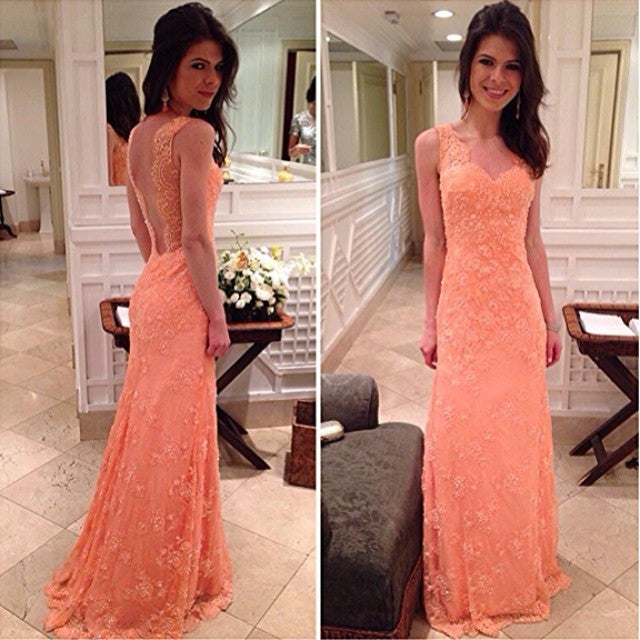 Peach Lace V Back Formal Cheap Applique Long Prom Dresses, PM0061 - Prom Muse