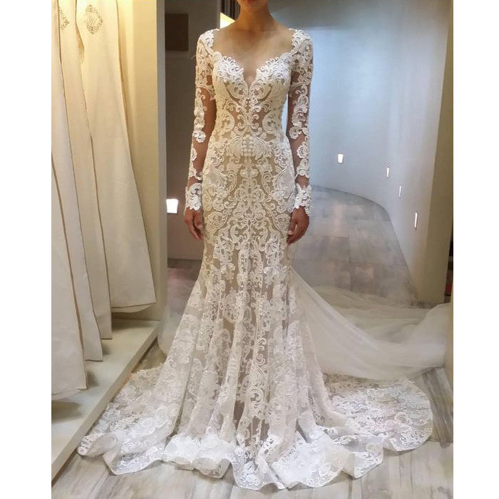 Unique Long Sleeves Gorgeous Lace Long Bridal Wedding Dresses ...