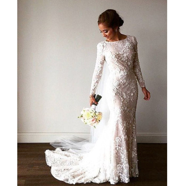 Popular Long Sleeves Modest Applique Long Wedding Dresses, PM0621 - Prom Muse
