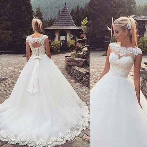 Beautiful Lace Up Back Cheap Applique Lace Long Wedding Dresses, PM0622