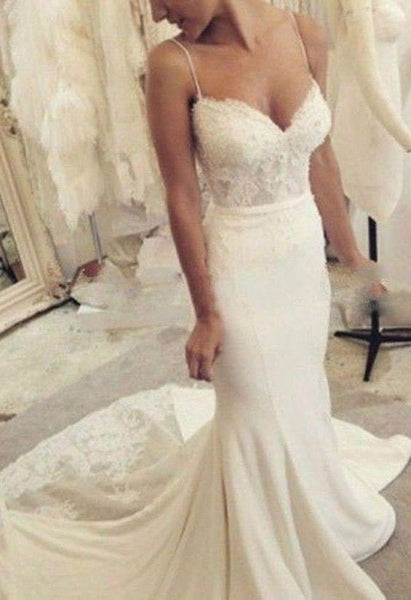 Cheap Spaghetti Strap Mermaid Lace Long Wedding Dresses, PM0622 - Prom Muse