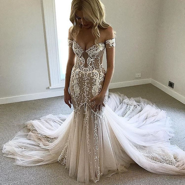 Gorgeous Off the Shoulder Sweetheart Mermaid Long Wedding Dresses, PM0624 - Prom Muse