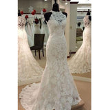 Elegant Mermaid Lace Sleeveless On Sale Long Wedding Dresses, PM0626