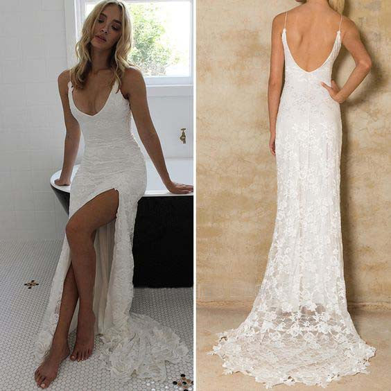 Sexy Mermaid Lace Side Split Cheap Long Wedding Dresses, PM0628