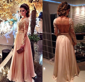 Blush Pink Backless Vintage Long Sleeves Lace Prom Dresses, PM0062