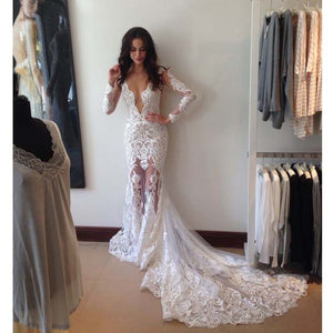 Deep V Neck Sexy Long Sleeves Applique Lace Long Brides Wedding Dresses, PM0631 - Prom Muse
