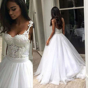 Unique Applique Spaghetti Strap Tulle Long Brides Wedding Dresses, PM0632