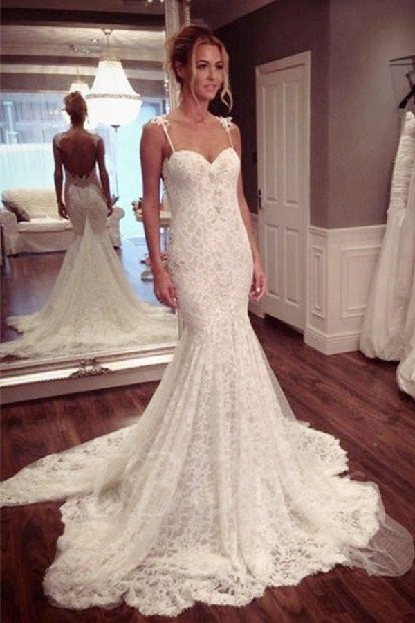 Charming Sweetheart Backless Lace Spaghetti Strap Long Brides Wedding Dresses, PM0633 - Prom Muse