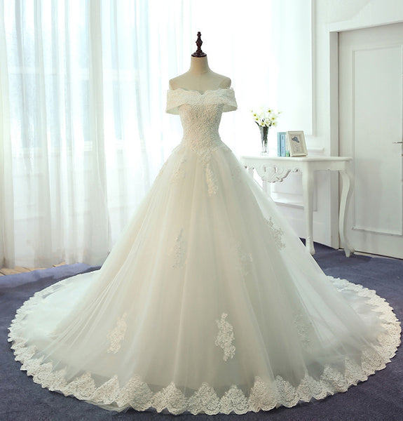 Off the Shoulder Lace Up Back Charming Lace Bridal Long Wedding Dresses, PM0634 - Prom Muse