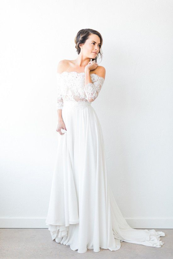 Long Sleeves Off the Shoulder Lace Top Long Wedding Dresses, PM0636 - Prom Muse