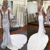 Lace Mermaid V Neck Sexy Inexpensive Long Bridal Wedding Dresses, PM0637