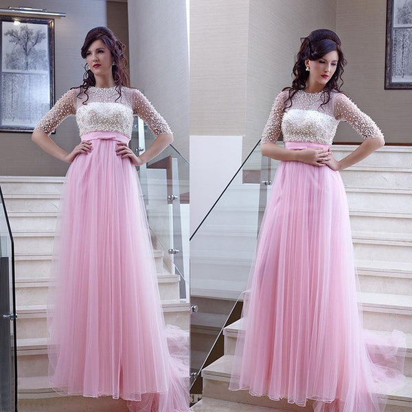 Pink Beaded Top Tulle Half Sleeves Long Prom Dresses, PM0063 - Prom Muse