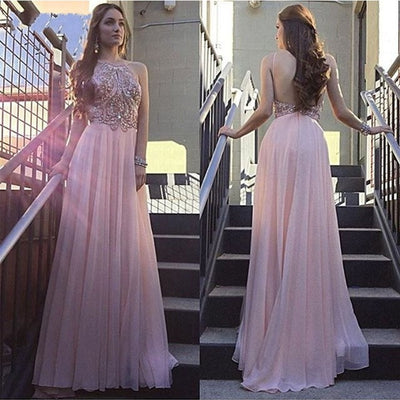 Blush Pink Beaded Top Backless Halter Long Prom Dresses, PM0064