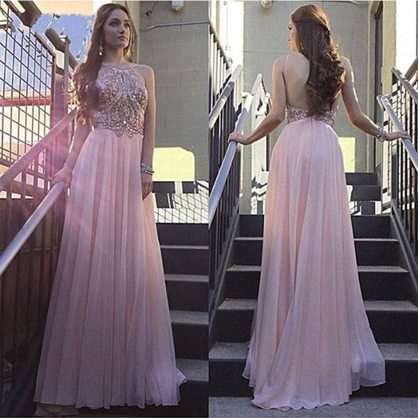 Pink Halter Backless Popular Long Prom Dresses, PM0078 - Prom Muse