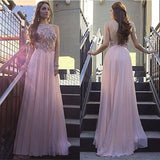 Blush Pink Beaded Top Backless Halter Long Prom Dresses, PM0064 - Prom Muse
