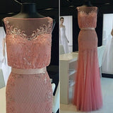Blush Pink Unique Beaded Tulle Long Prom Dresses, PM0065