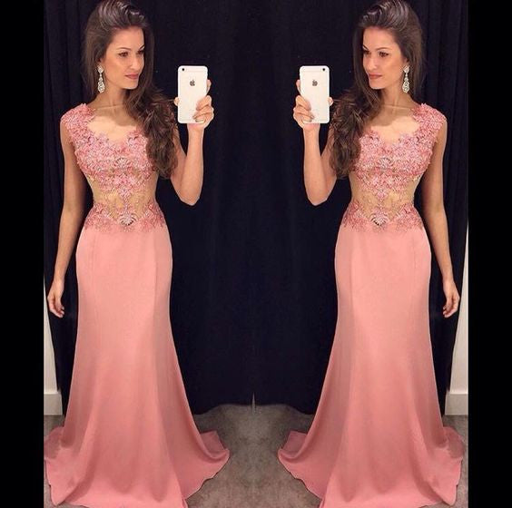 Sexy See Through Mermaid Applique Long Prom Dresses, PM0066
