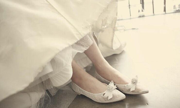 Fashion Women Flat Pointed Toe Lace Sequin Wedding Bridal Shoes, S008 - Prom Muse